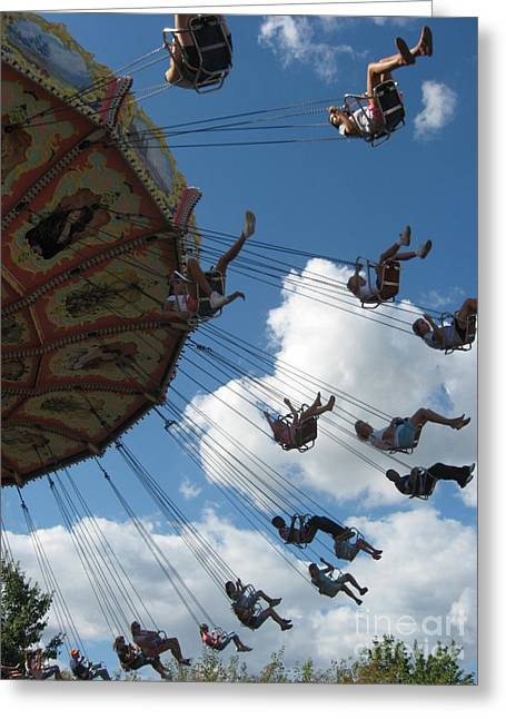 Kennywood Park Greeting Cards - High in the Sky Greeting Card by Nancy Dole McGuigan