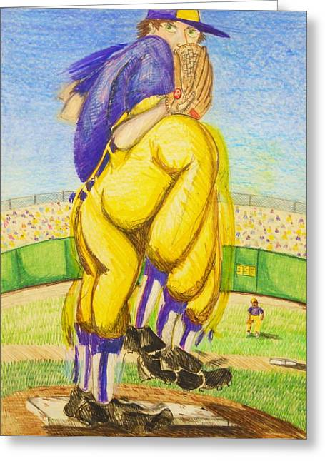 Softball Drawings Greeting Cards - High Leg Kick Greeting Card by Jame Hayes