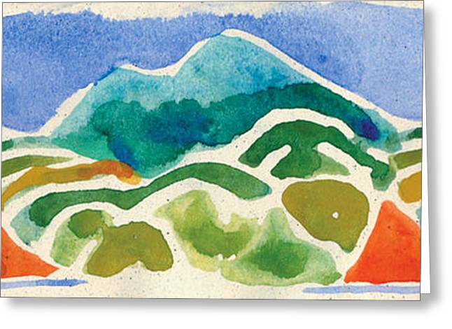 Lino Paintings Greeting Cards - High Mountains and Meadows Greeting Card by Annie Alexander