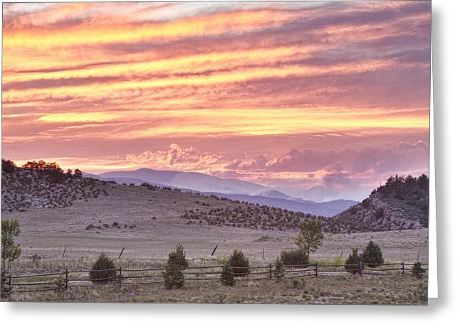 High Park Fire Greeting Cards - High Park Fire Larimer County Colorado at Sunset Greeting Card by James BO  Insogna
