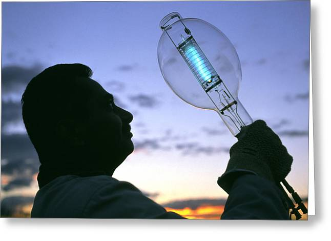 Halogen Greeting Cards - High-powered Bulb Greeting Card by Volker Stegersiemens