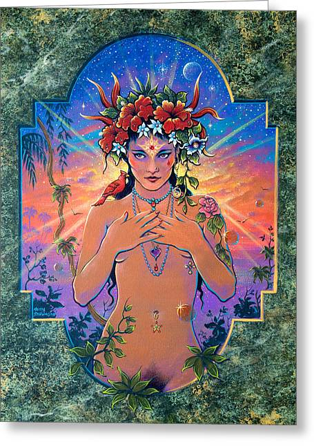Hallucination Greeting Cards - High Priestess Greeting Card by Keith Stillwagon