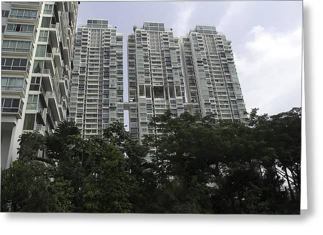 Greenery Greeting Cards - High rise apartment building in Singapore Greeting Card by Ashish Agarwal