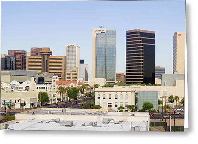 Office Space Greeting Cards - High Rise Buildings of Downtown Phoenix Greeting Card by Jeremy Woodhouse