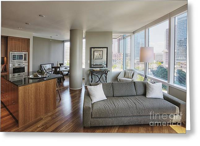 Angled Windows Greeting Cards - High Rise Condo Interior Greeting Card by Andersen Ross