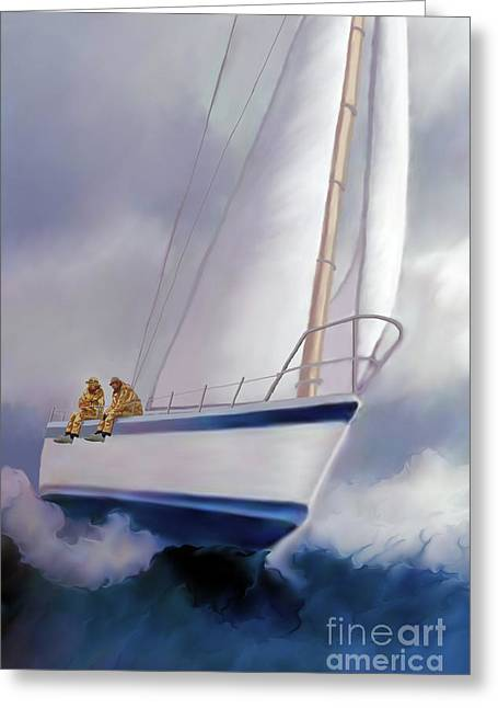Sailboat Images Paintings Greeting Cards - High Roller Greeting Card by Corey Ford