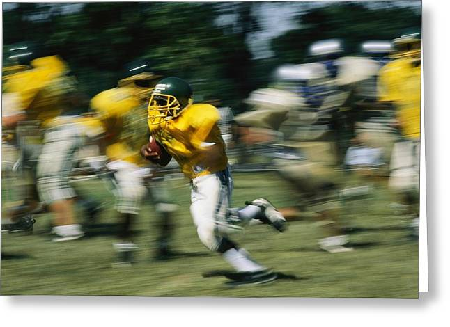 Germantown Greeting Cards - High School Football, Runner In Motion Greeting Card by Brian Gordon Green