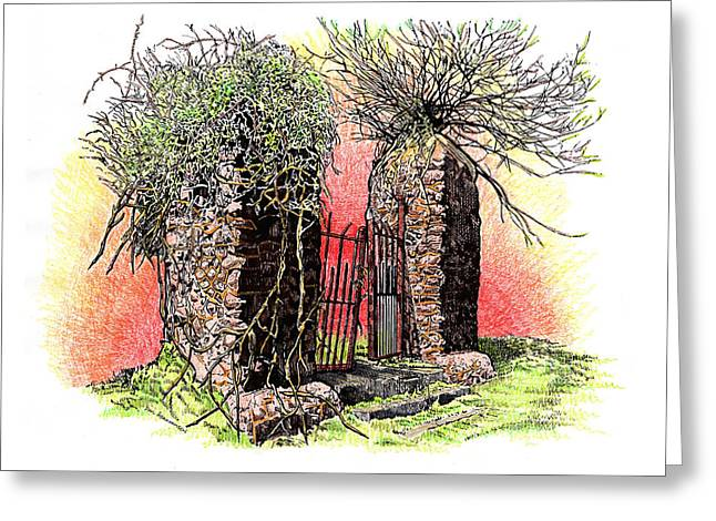 Overgrown Drawings Greeting Cards - High School Gates Greeting Card by Paul Abrahamsen