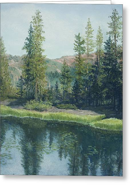 Quite Pastels Greeting Cards - High Sierra Lake  Greeting Card by Martha J Davies