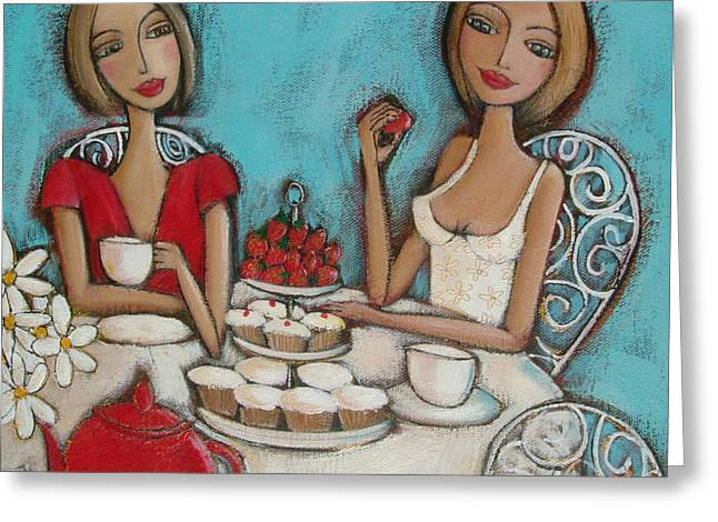 Strawberry Cupcake Greeting Cards - High Tea Greeting Card by Denise Daffara