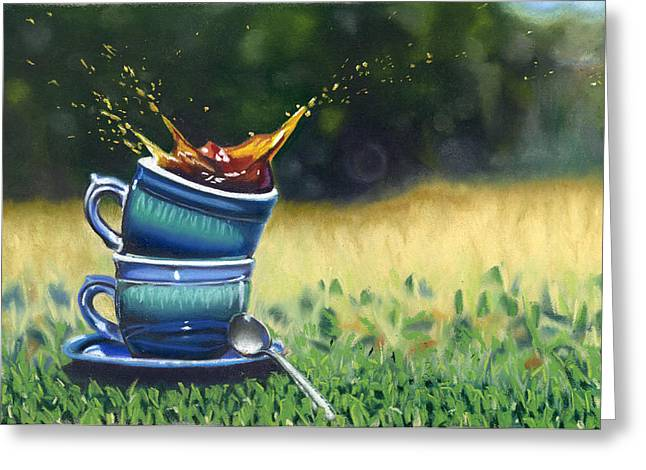 Cup Pastels Greeting Cards - High Tea Greeting Card by Leah Towler