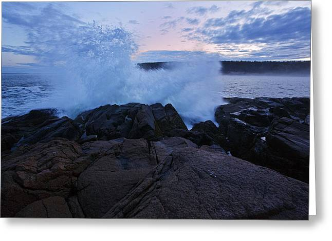 Storm Wave Greeting Cards - High Tide at Dusk Greeting Card by Rick Berk