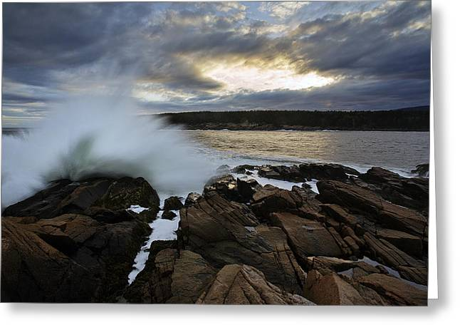 Storm Wave Greeting Cards - High Tide at Otter Point Greeting Card by Rick Berk