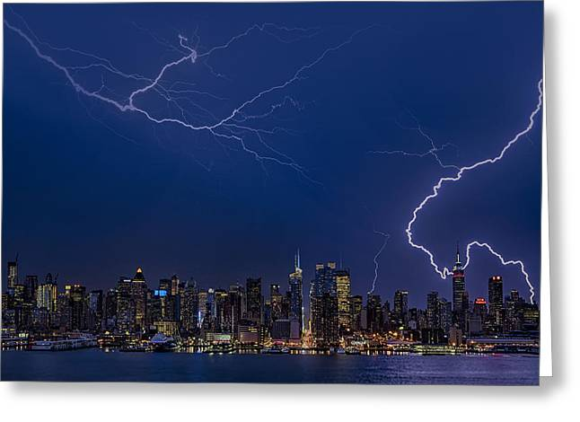 High Voltage Greeting Cards - High Voltage in the  New York City Skyline Greeting Card by Susan Candelario