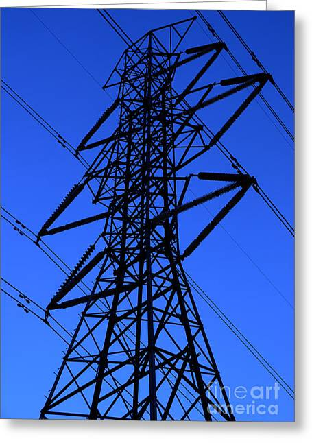 Energize Photographs Greeting Cards - High Voltage Power Line Silhouette Greeting Card by Gary Whitton