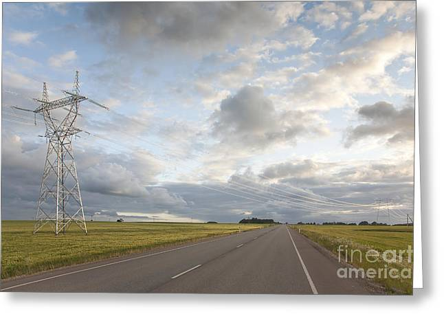 Electric Pylon Greeting Cards - High Voltage Power Pylon Greeting Card by Jaak Nilson