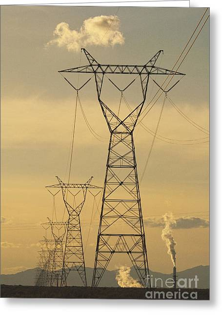 Amp Greeting Cards - High Voltage Towers and Power Lines Greeting Card by Thom Gourley/Flatbread Images, LLC