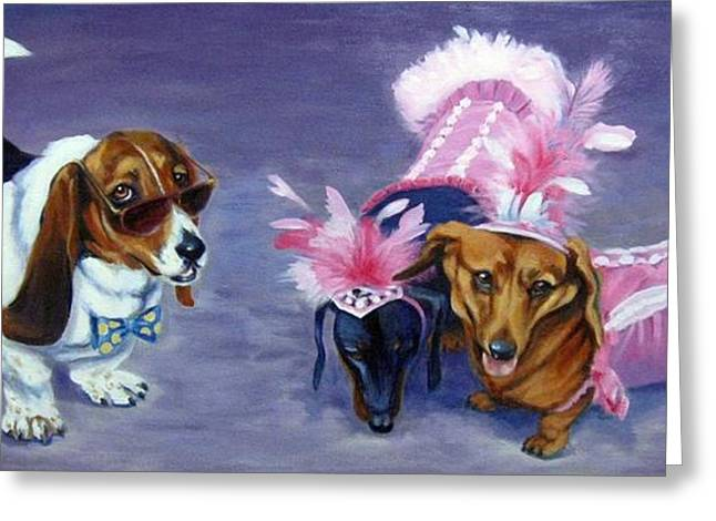 Puppies Paintings Greeting Cards - HighClass HotDogs Greeting Card by Pat Burns
