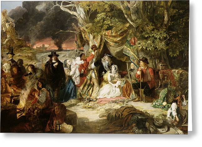 Poor People Greeting Cards - Highgate Fields During the Great Fire of London in 1666 Greeting Card by Edward Matthew Ward