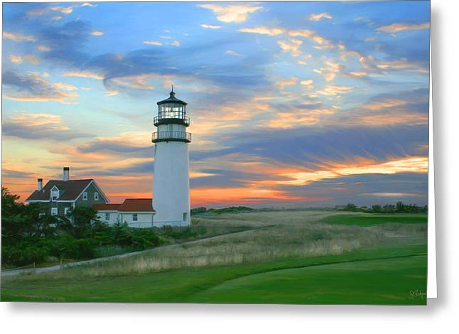 Sue Brehant Greeting Cards - Highland Lighthouse Sunrise Greeting Card by Sue  Brehant