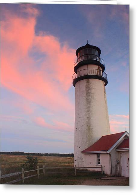 Truro Greeting Cards - Highland Lighthouse Sunset Cape Cod Greeting Card by John Burk