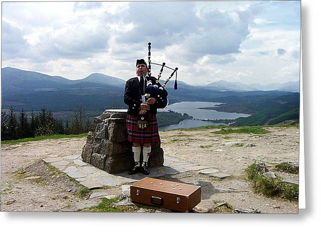 Highland Piper Greeting Card by Kevin Askew