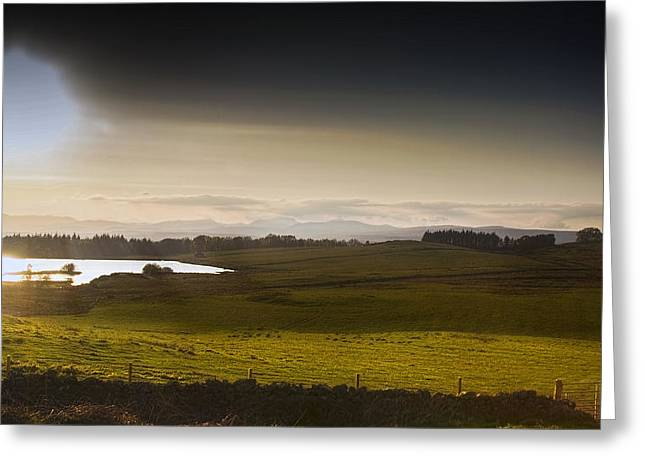 Evening Scenes Pyrography Greeting Cards - Highland Sunset Greeting Card by Stephen McCluskey