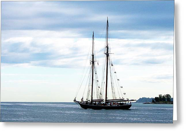 Schooner Mixed Media Greeting Cards - Highlander Sea on Lake Huron Greeting Card by Bruce Ritchie