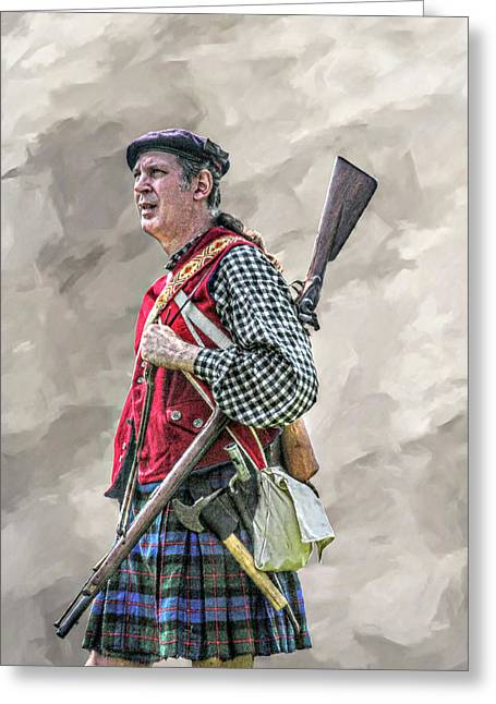 French And Indian War Greeting Cards - Highlander Soldier Portrait  Greeting Card by Randy Steele