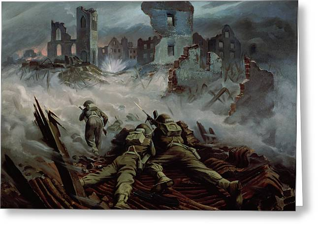 Destruction Greeting Cards - Highlanders advancing to Caen Greeting Card by Orville Norman Fisher