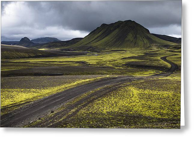 Mountain Road Greeting Cards - Highlands of Iceland Greeting Card by Arnar B Gudjonsson