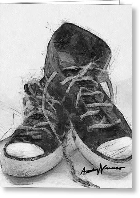 Sneakers Greeting Cards - HighTops Greeting Card by Anthony Caruso