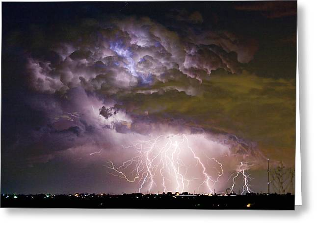 Flash Greeting Cards - Highway 52 Storm Cell - Two and half Minutes Lightning Strikes Greeting Card by James BO  Insogna