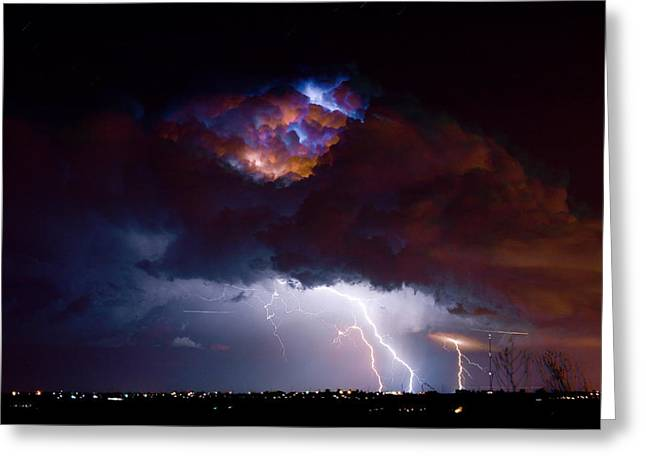 Lightning Photography Photographs Greeting Cards - Highway 52 Thunderhead Lightning Cell Greeting Card by James BO  Insogna