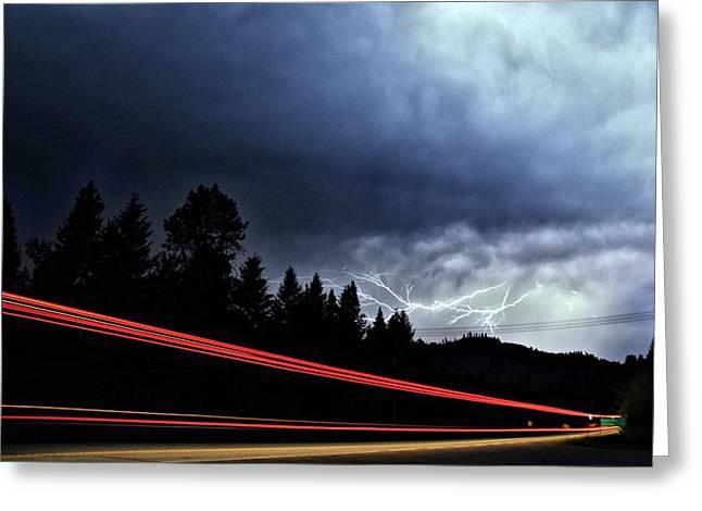 Lightning Greeting Cards - Highway Lightning Greeting Card by Don Mann