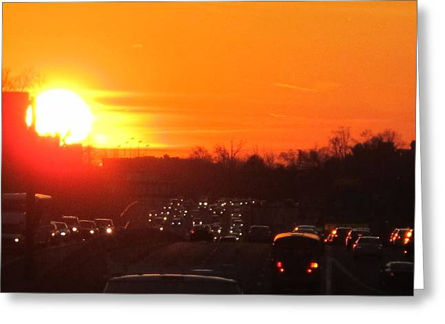 Highway Pyrography Greeting Cards - Highway Sunset Greeting Card by Valia Bradshaw