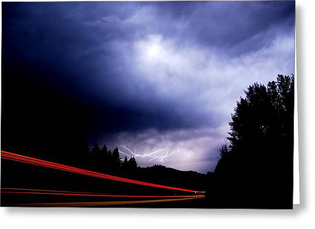 Lightning Greeting Cards - Highway Thunderbolt Greeting Card by Don Mann