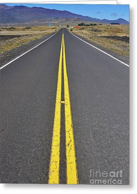 Yellow Line Greeting Cards - Highway to Mauna Kea Volcano Greeting Card by Sami Sarkis