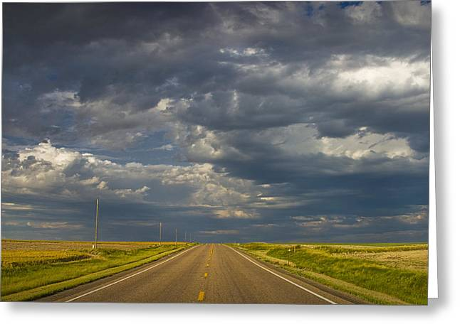 Yellow Line Greeting Cards - Highway US 2 in Montana No.1918 Greeting Card by Randall Nyhof