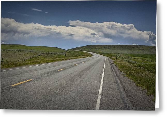 Yellow Line Greeting Cards - Highway US 89 in Montana No.2000 Greeting Card by Randall Nyhof
