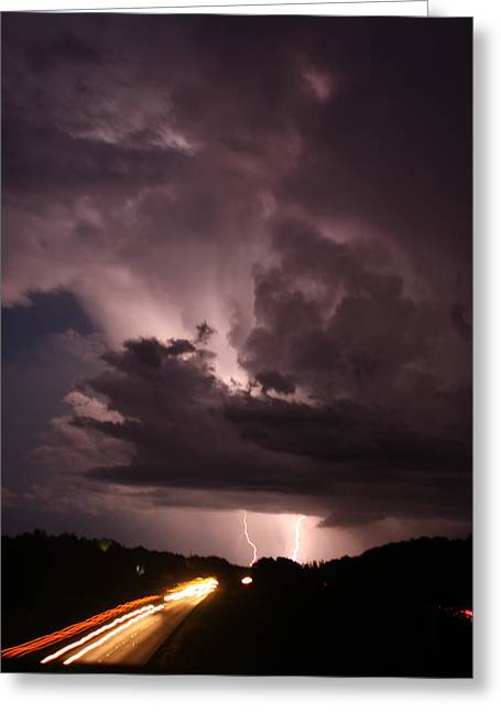 Lightning Photographer Greeting Cards - Highway Weather Greeting Card by David Paul Murray