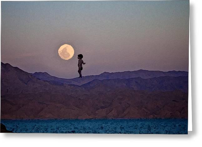 Sea Moon Full Moon Mixed Media Greeting Cards - Hijo de la Luna Greeting Card by Jenn Bodro