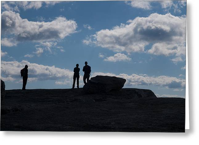 Shawanagunk Mountains Greeting Cards - Hikers on Cliff Top Greeting Card by Jim DeLillo