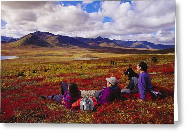 Model Release Greeting Cards - Hikers Relax And Watch The Landscape Greeting Card by Paul Nicklen