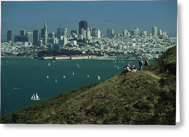 Golden Gate National Recreation Area Greeting Cards - Hikers View San Franciscos Skyline Greeting Card by Phil Schermeister