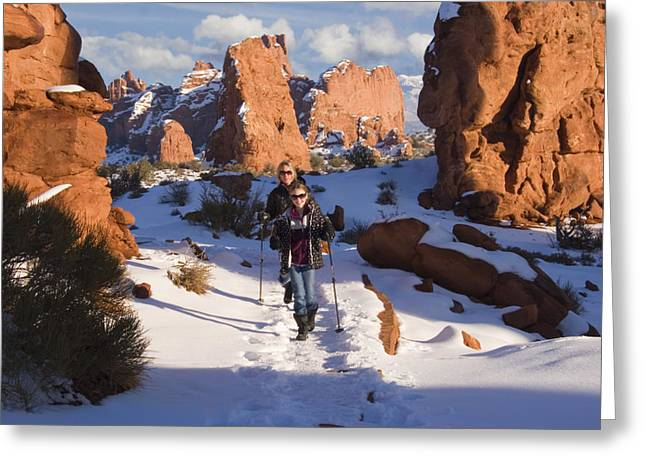 Best Sellers -  - Slickrock Greeting Cards - Hiking in Arches National Park Greeting Card by Utah Images