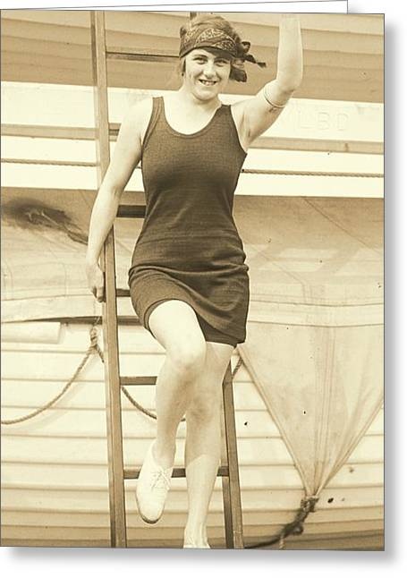 Swimsuit Photo Greeting Cards - Hilda James Greeting Card by Padre Art