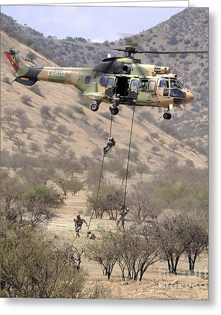 Foreign Military Greeting Cards - Hilean Special Forces Perform An Air Greeting Card by Stocktrek Images