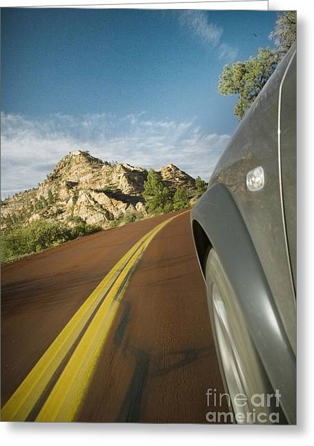 Yellow Line Greeting Cards - Hill From Outside a Moving Car Greeting Card by Ned Frisk