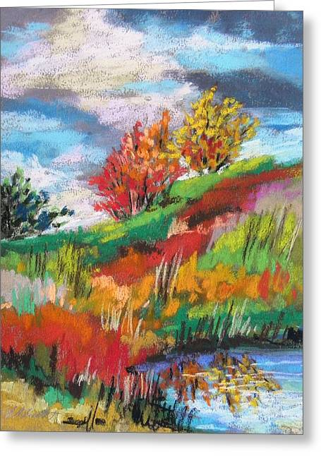 Field. Cloud Drawings Greeting Cards - Hill Pond Greeting Card by John  Williams